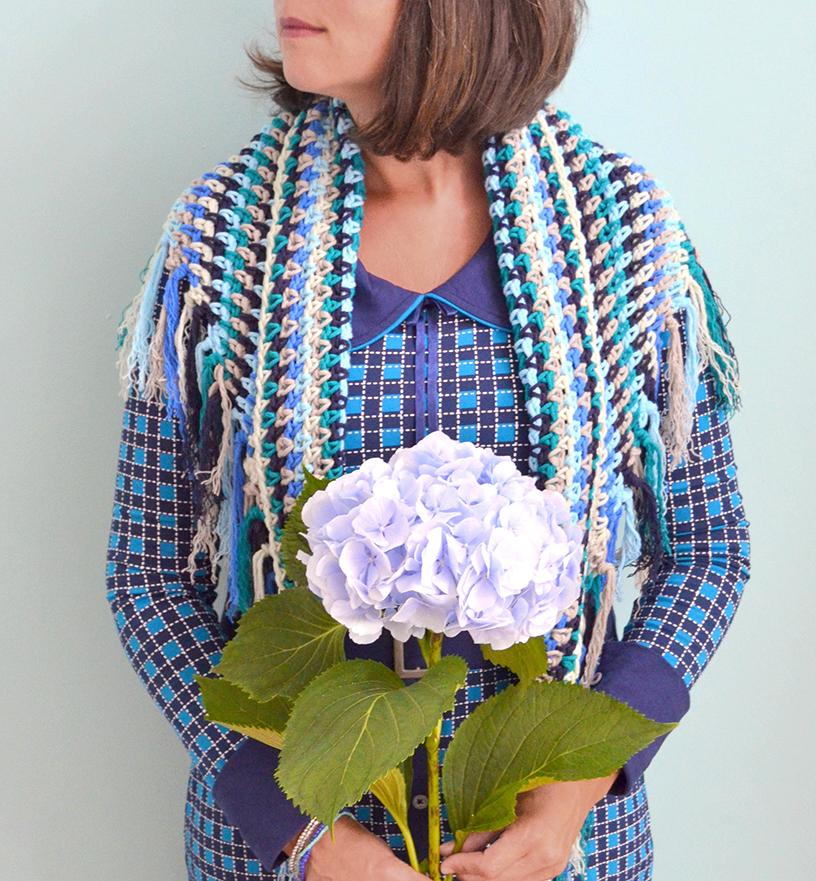 byClaire Nr2 omslagdoek in blauwtinten