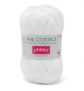 Phildar coton 3 1225 blanc