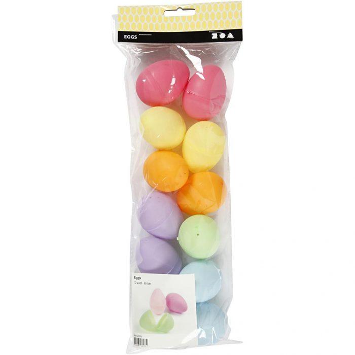 Eieren plastic gekleurd 6 cm 12 stuks-6570