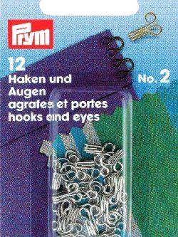 Prym Haken/ogen nr. 2 zilverkleurig