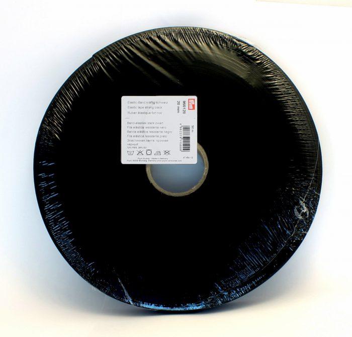 Prym Elastische band sterk zwart 20mm 50m