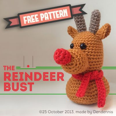 Free Pattern winter Reindeer bust