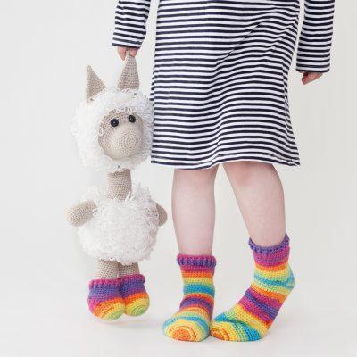 Amigurumi crochet lama socks
