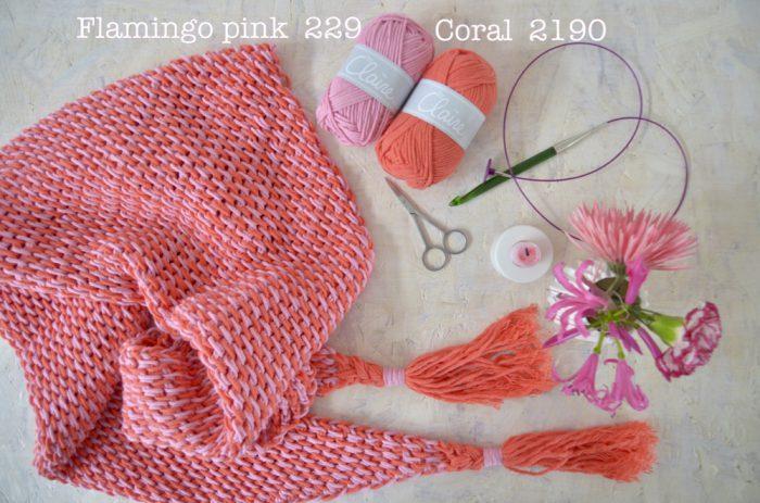 Haakpakket ByClaire ton sur ton sjaal lila denim-10315