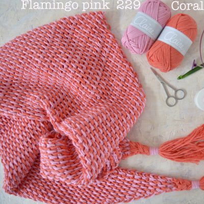 byclaire ton sur ton sjaal flamingo coral