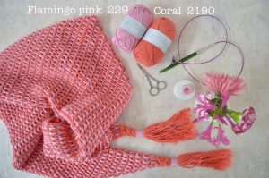 byclaire ton sur ton sjaal flamingo coral