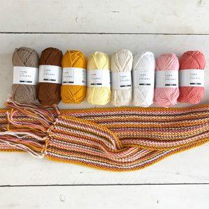 Breipakket Sandra Sjaal coral/geel