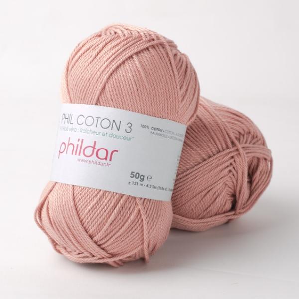 Phildar coton 3 0030 vieux rose