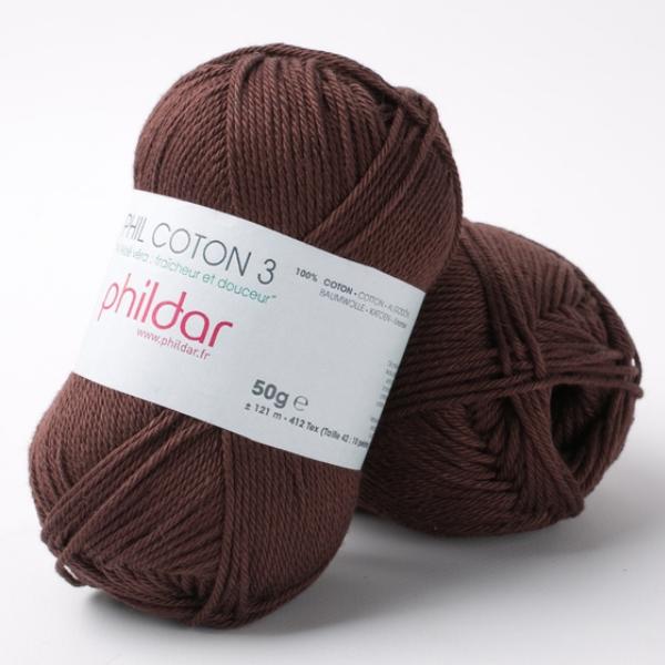 Phildar coton 3 2038 bordeaux