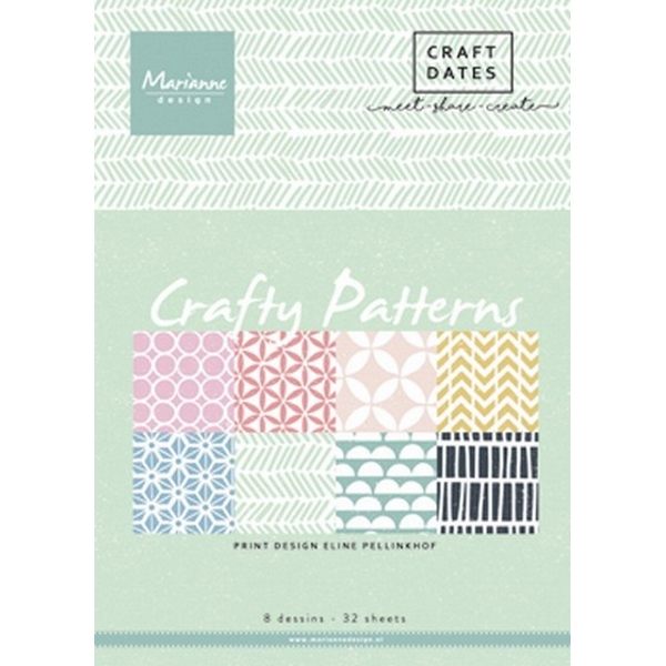 Pretty Papers bloc Crafty patterns A5 4x8 designs