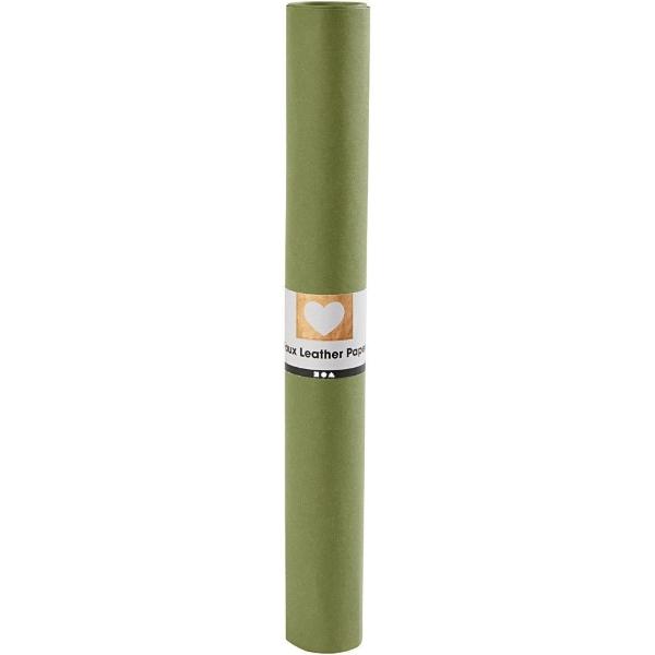 Faux Leather Papier Green, 50x100cm