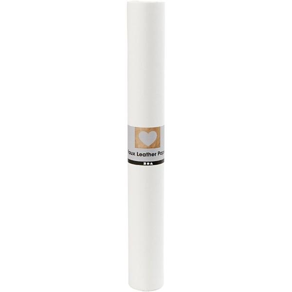 Faux Leather Papier White, 50x100cm