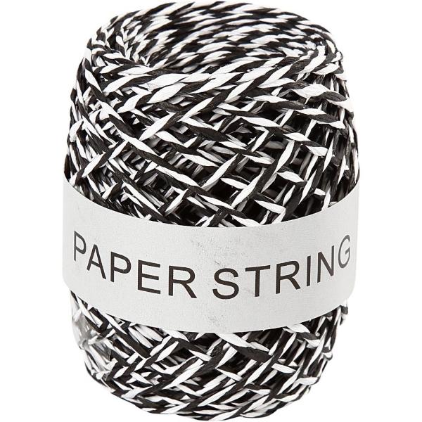 Papierkoord zwart/wit 50m