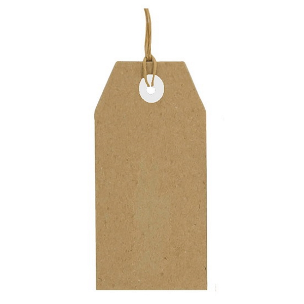 label karton bruin 25 stuks, 30 x 50 mm