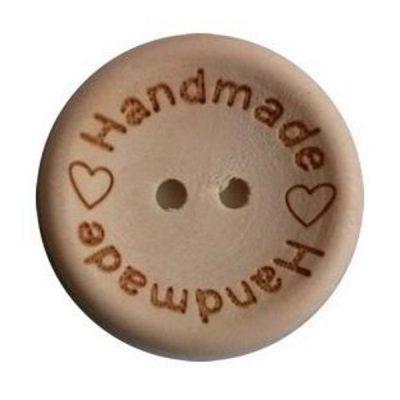 Houten knoop 15mm handmade hartje