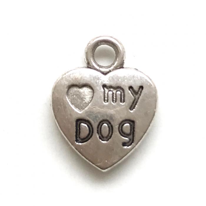 """Bedel hart """"love my dog"""" - zilver (per stuk)-0"""