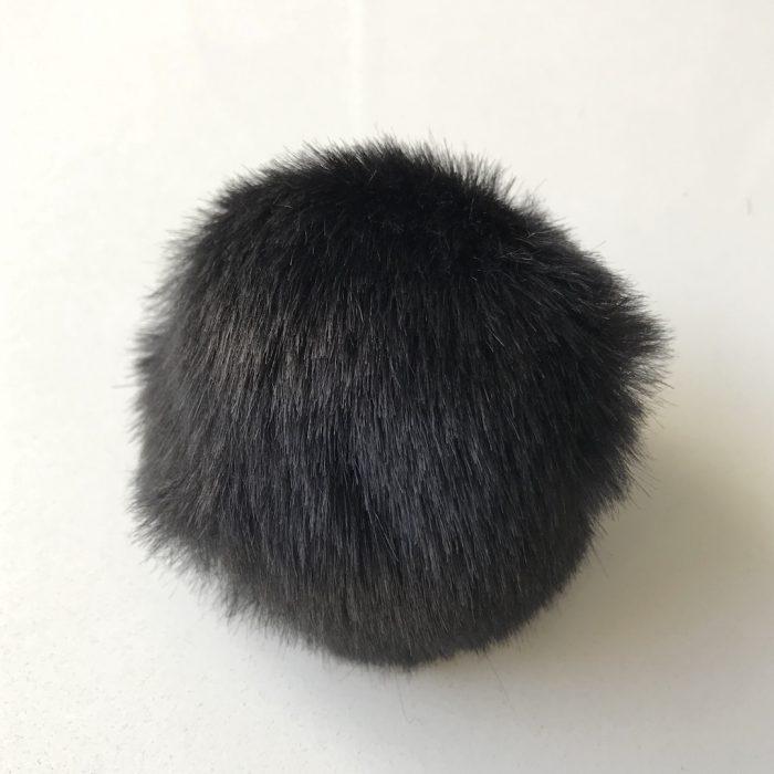Pompom fauxfur zwart-0