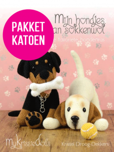 Totaalpakket mijn hondjes van sokkenwol KATOEN incl boek-16344