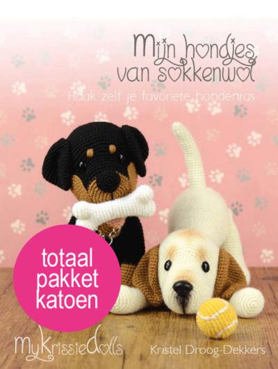 Totaalpakket mijn hondjes van sokkenwol KATOEN incl boek-0